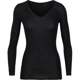 Icebreaker Luxe Rib Maglietta a maniche lunghe Donna nero